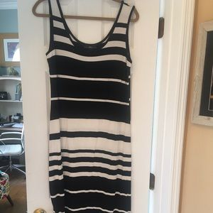 Maxi dress, black/white stripe
